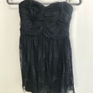 Black strapless dress with lace overlay